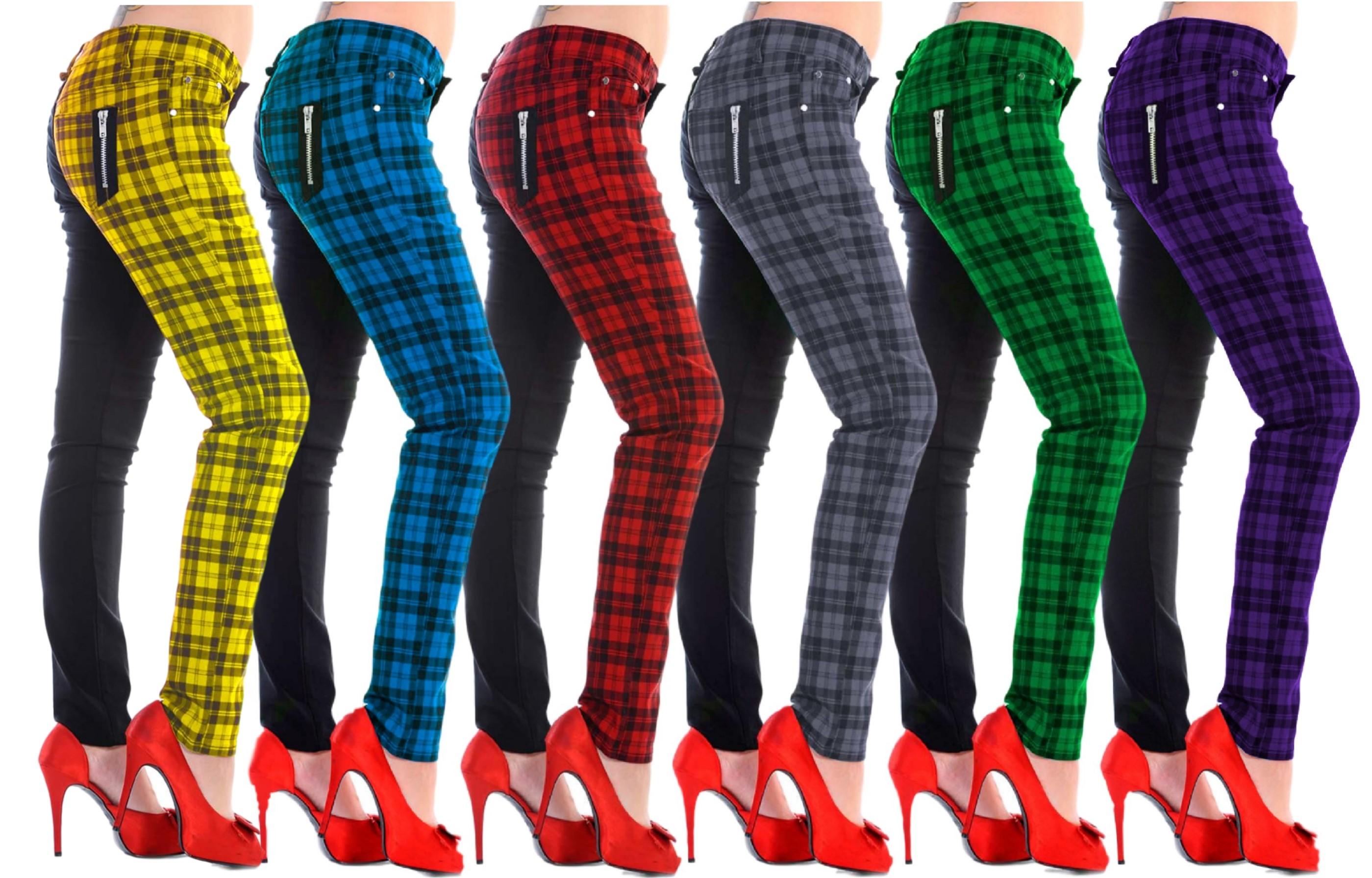 Blue Tartan Check Black Split Legs Skinny Punk Stretch Trousers Banned Apparel