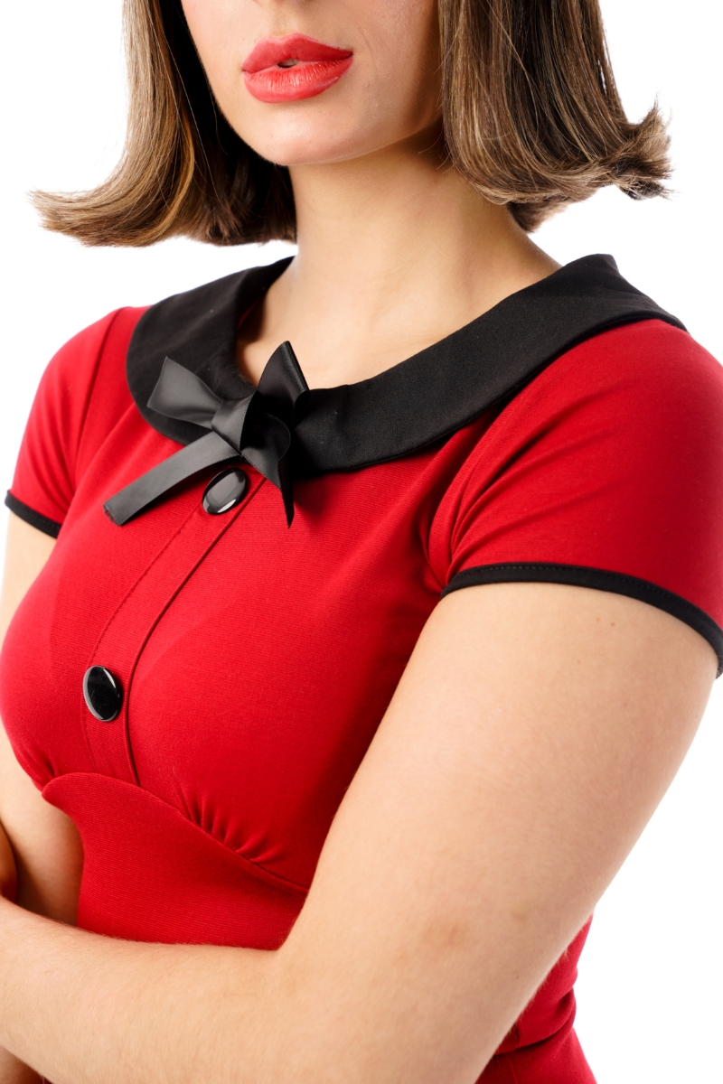 Ro Rox Julie Retro Rockabilly Pin Up 1950/'s Vintage Casual Pinup Bow Top Blouse
