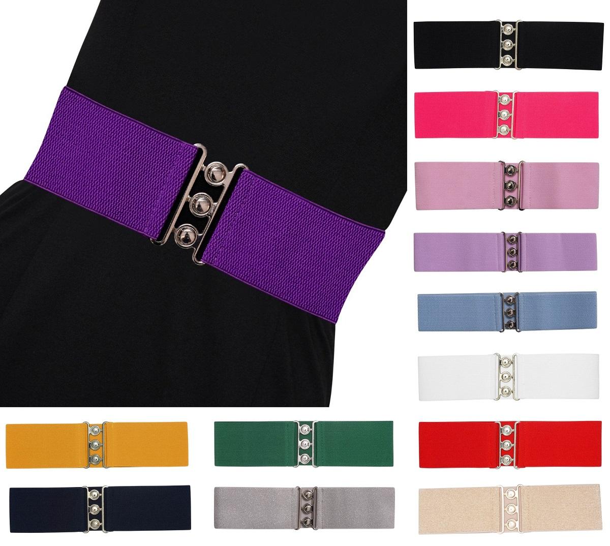Banned Vintage Stretch Belt Elasticated Waist Belt for Dresses Off White